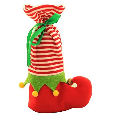 Cplapll Weihnachtszubehör, Tasche für Weinflaschen, Elfstiefel, rot