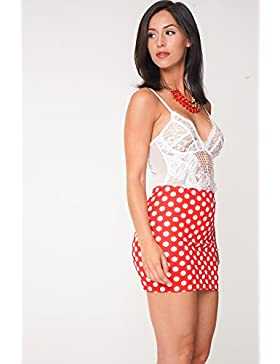 Girls Ladies Micro Mini Red Skirt Falda a cuadros lunares rojos de Divas
