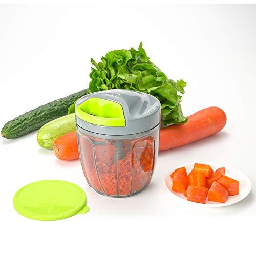 Kalokelvin Cortador de Verduras, Picadora de Alimentos Manual, Picador de Cebolla, Triturador Picadora con 5 Cuchillas Usado para Carne,Hierbas,Alimento para Bebé (900ml)