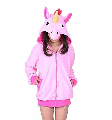 Casa Unisex Cartoon Jacke Pyjama Tieroutfit Seitentaschen Reißverschluss Mit Kapuze Tier Cosplay Sweatshirt Halloween Kostüm Hoodies (L, Rosa (Jacke Kostüme Rosa Halloween)