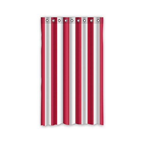 DOUBEE Custom Vorhänge Weiß und Rot Gestreifte Regenbogen Polyester Deco Vorhang Design 127cm x 213cm (1 Stück) -