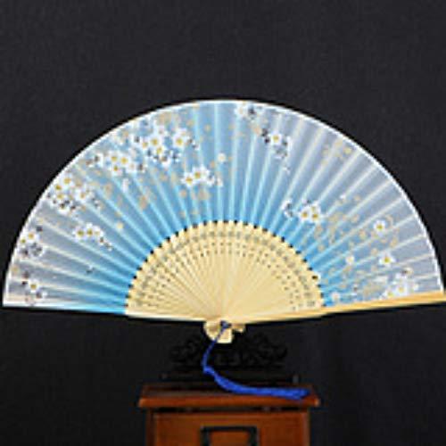 XIAOHAIZI Handklappventilator,White Flower Light Blue Hollow Summer Folding Fan Chinese Classical Ladies Wall Decoration Dance Fan (Kinder White Für Lady-kostüm)