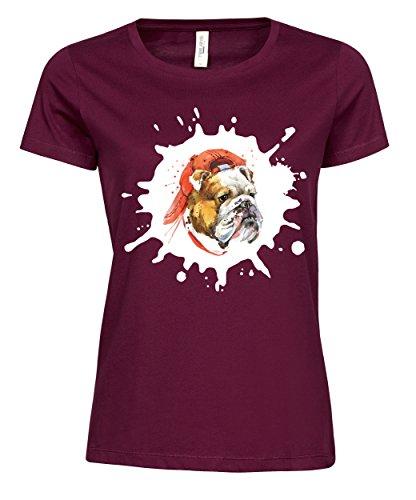 makato Damen T-Shirt Luxury Tee Bulldog Wine