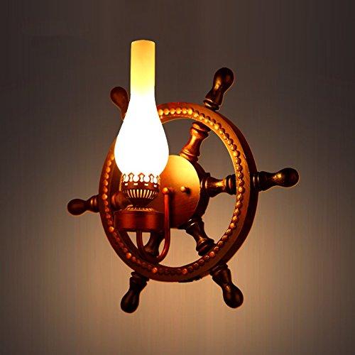 C&L Rétro Applique, Bois Rudder Mur Lampe Personnalité Créative Chambre Bar Restaurant Café Club Mur Lampe E27 (taille : 30 * 42cm)