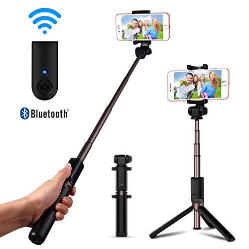 LUXSURE Selfie Stick Mit Bluetooth Stativ Universal Monopod Selfie Stange Fernbedienung für iPhone XS/XS max/xr/x/8/8 Plus/7,Samsung Galaxy 9/s9/s9+/s8/Note 8/s7/s7 Edge, Selfie Stick Drehbar 360°