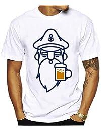 FuweiEncore Camiseta Camiseta de algodón Impresa Manga Corta Blanca del Hombre Camiseta Divertida de la Cerveza