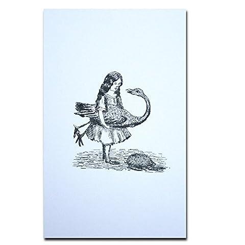 Alice in Wonderland Carte Postale Authentique Avec Cadre Alice Holding a Flamingo B&W Cadeau Drôle