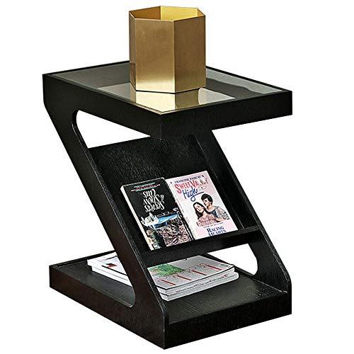 Côté en Z, Angle/Porte-Livre de Mode/Table de Nuit Moderne/Baie vitrée/Table Basse, Noir (48 × 35 × 52cm)