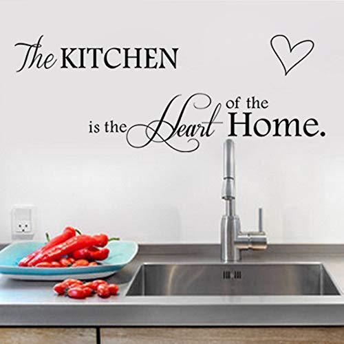 WSLIUXU Kunst Wandaufkleber Küche ist das Herz der Familie Küche Dekoration Wandaufkleber PVC Abnehmbare Wandbild Künstler Wohnzimmer Dekoration Wandaufkleber Family Garden Weiß XXL 115cm X43cm