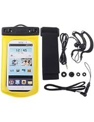 cosmall wp-160C amarillo resistente al agua bolsa Funda con brazalete y 3,5mm impermeable auriculares Jack para Samsung Galaxy SIII/i9300/Galaxy SII/i9100, iPhone 4/4S/5profundidad impermeable: 10m (IPX8), amarillo, 17cm x 9.5cm