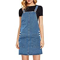 luvamia Women's Juniors Casual Straps Denim Overall Pinafore Dress with Pocket Blue Size Large (Fits US 12-14)