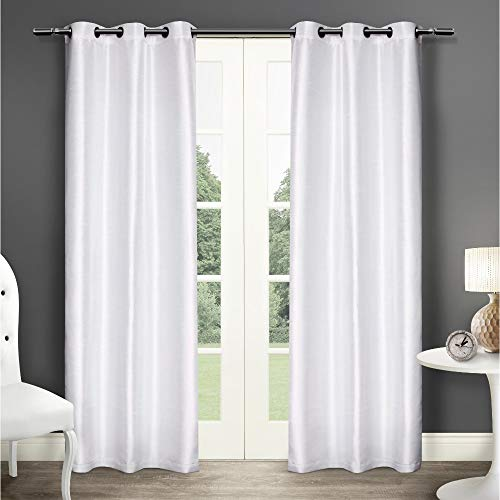 Exclusive Home Dupionseide Tülle Top Fenster Vorhang Panels, Polyester, Winter-Weiß, 40x84 -