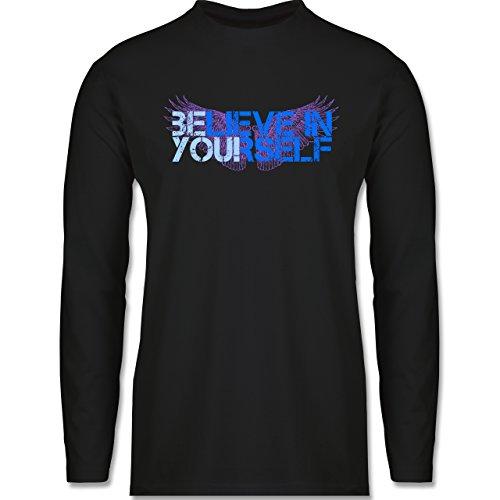 Statement Shirts - BElieve in YOUrself - Longsleeve / langärmeliges T-Shirt für Herren Schwarz