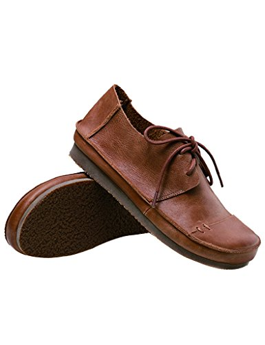Youlee Femmes Gros Tête Doux Bas Lacer Cuir Chaussures Marron