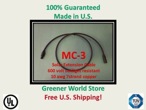 Solar Connector Cable 15 feet 10awg with Mc3 at each end., Made with High Quality TUV, and UL Rated Components., Engineered for Long Life and Outdoor Applications., Shipped Fast from U.S. Seller! Visit our store for all size cables and mc3 mc4 connec...