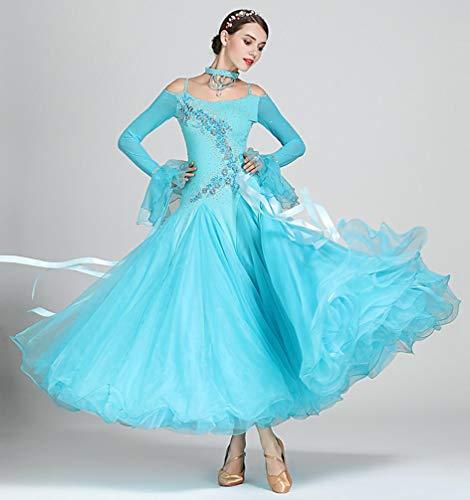 Z&X Women Es Modern Ballroom Dance Kostüm Sling Professional Set Spandex Lycra/Hochdichte Garn,M (Lycra Dance Kostüm)