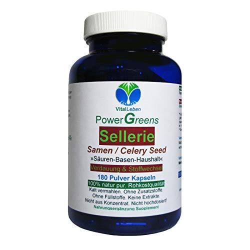 Sellerie Samen Celery Seed nach Hildegard von Bingen 180 Pulver Kapseln   SÄURE BASEN HAUSHALT Verdauung & Stoffwechsel   NATUR pur - OHNE ZUSAZSTOFFE   26600-180 -