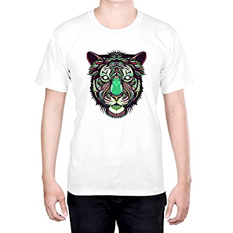 Head Case Designs Tiger Aztec Animal Faces L - Large White T-Shirt for Men