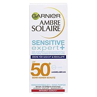 Garnier Ambre Solaire Sensitive expert+ Crème, mit LSF 50+, sehr hoher Schutz für Gesicht und Dekolleté, für empfindliche Haut, wasserfest, 50 ml