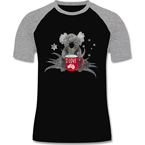 Kontinente - I love Australien Koala - zweifarbiges Baseballshirt für Männer Schwarz/Grau Meliert