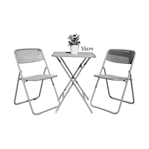 XXHDYR Acier Net Trois Pièces De Mode Pliante Tables Et Chaises en Fer Forgé Peinture Mobilier D'extérieur Simple Loisirs Combinaison Petite Table (Color : A, Size : One Table+Two stools)