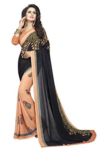 J B Fashion Women's Georgette Black color Saree with Blouse piece