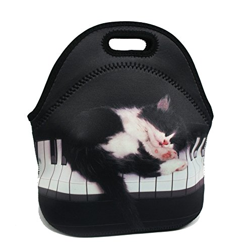 artone-piano-cat-insulated-gourmet-lunch-bag-waterproof-neoprene-lunchbox-container-case-black