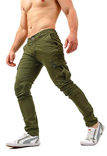Instinct Pantaloni Cargo Uomo con Tasche Laterali Tasconi Zip Slim Fit W7 (34/48 IT, 3010X Verde)