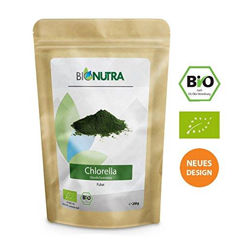 BioNutra® Chlorella-Pulver Bio membrangebrochen 250 g, 100{723d3731650269420051b2a98cb8bd67192887362781281112667163359f8737} rein & natürlich, rückstandskontrolliert, nach EU-ÖKO-Standard kultiviert und hergestellt