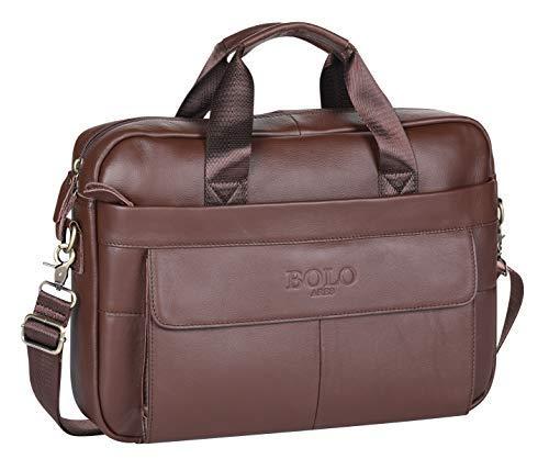 BOLO 13 14 Zoll Laptop Aktentasche Handarbeit Leder Aktentasche Business-Schulter Business-Tasche für Computer (Kaffee Brown-BP)