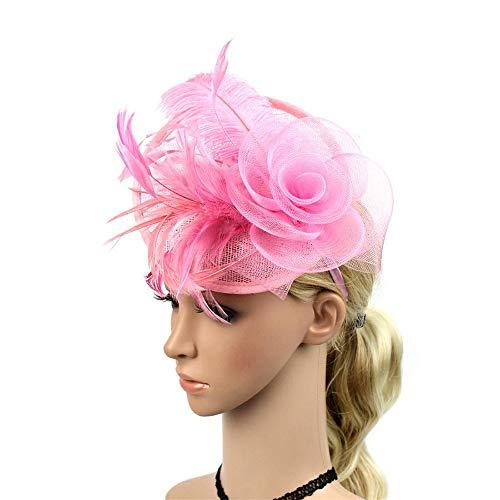 Top Kostüm Stirnband Mütze - Mmamma Hanf Hut Braut Party Party Hut Tops Kenki Tower Jockey Club Headwear Stirnband Hochzeit Mesh Federn Tea Party Haarspange (Farbe : Rosa)