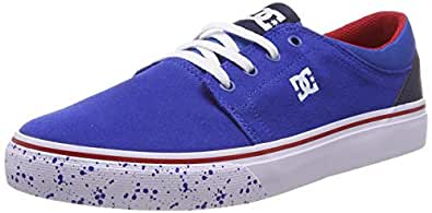 DC Boy's Trase Se B Shoe Navy/Red Leather Sneakers-0.5 UK/India (32.5 EU) (3613374224933)