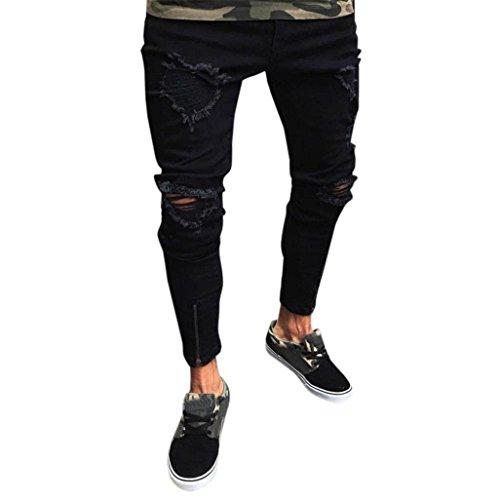 Qmber Hosen Herren Jeans Destroyed Slim fit Hose Herren Jeans Destroyed  Sommer Hosen Herren Jogger Jeans mit löchern schwarz Stretch Herren -  Männer Slim ... fcf54b4f95