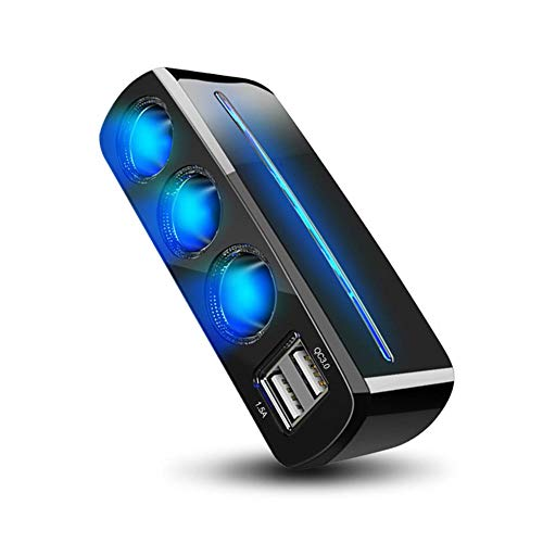 TUANMEIFADONGJI Caricabatteria da Auto Dual Port USB Caricabatteria da Auto Mini Size Blu LED Light 3 Accendisigari QC 3.0 Caricabatterie Veloce per Auto 12V-24V