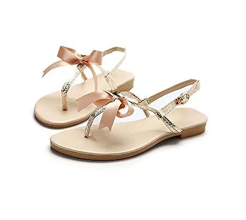 HAOHE Femmes Sandales Printemps Été Pu Peep Clip Toe Papillon Noeud Décoration Bureau & Carrière Robe Casual Plage Talon Plat Flip Flops Chaussures