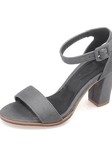 UWSZZ Die Sandalen elegante Comfort schuhe Donna-Sandali - Formale-Aperta Quadrato-Finta - Haut - Schwarz/Grau/Coral, Grau - us7.5/EU38/uk5.5/CN 38, Grau - us7.5/EU38/uk5.5/CN 38