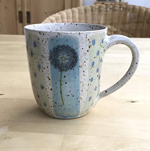 Keramikbecher, 250ml, türkisblau/grün mit Pusteblumen