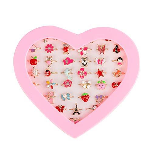Toyvian Mädchen Fingerringe Set mit Herzförmigen Box für -