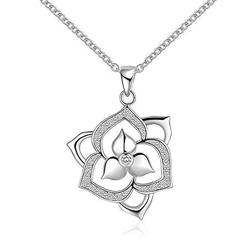 AMDXD Bijoux Plaqué argent pendentif Colliers pour femmes Argent creux Cœur CZ Collier