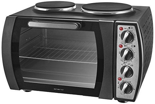 Emerio MO-114979 Mini-Backofen mit 2 Kochfeldern, 2930 Watt, Ober-/Unterhitze, Mini-Küche, Camping-Küche, 28L Volumen,...