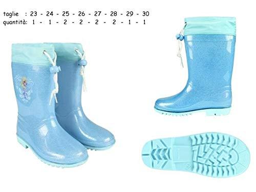 Stivali stivaletti pioggia bambina frozen elsa disney in gomma n. 28 celesti con glitter e grafica frozen