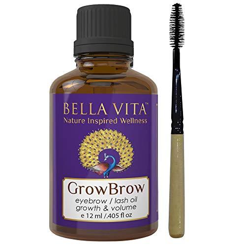 Bella Vita Organic GrowBrow - Eye Brows EyeLash Hair Growth & Volume Serum With Castor, Onion Oil & Vitamin E, 12ml