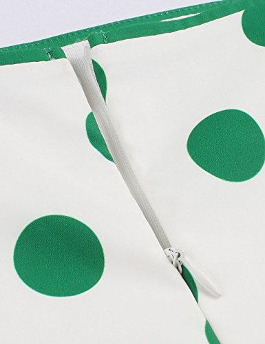 VKStar® 50er Rockabilly Kleid Polka Dots Petticoat Punkte Vintage ärmellos Abendkleid Grün S - 5