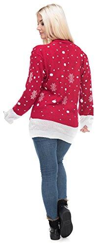 Christmas Sweater Damen Weihnachtspullover Weihnachten Pulli Xmas Einhorn Reh Bambi Rudolph Rentier rote Puschelnase Rentier Rot