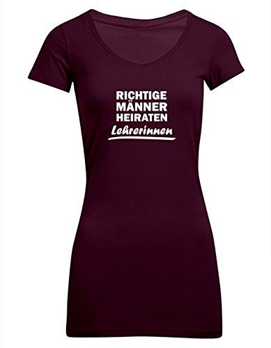 Richtige Männer heiraten Lehrerinnen, Frauen T-Shirt Extra Lang - ID102985 Burgundy
