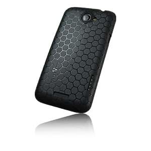 """PULSARplus HTC One X / X Plus Hülle Case """"Hexagon"""" für das One X / X+ schwarz - Dünne Schutzhülle als edles Zubehör für das Original HTC One X / X Plus"""