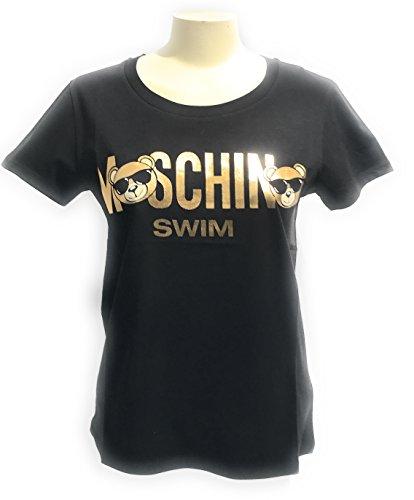 T-shirt girocollo donna moschino swim logo teddy bear colore nero ae18mo09