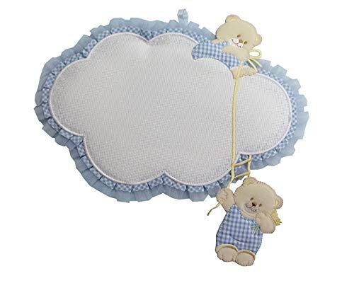 Fiocco-nascita-coccarda-nuvola-con-aida-ricamabile-anche-per-gemelli lavorato del tutto a mano