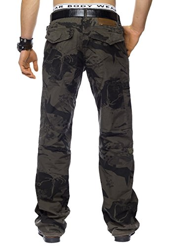 Hommes Pantalon Cargo Crazy Peppers ID1446 Loose Fit Braun