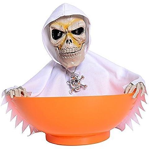 Leehonn Skull Trick or Treat Candy Bowl Halloween Ghost Decorations,LED Eyes+Built-In Motion Sensor Voice(White-Orange) by Leehonn
